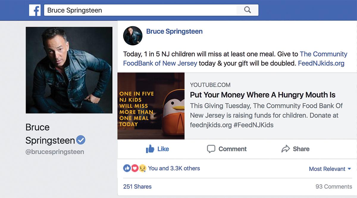 Bruce Springsteen social post
