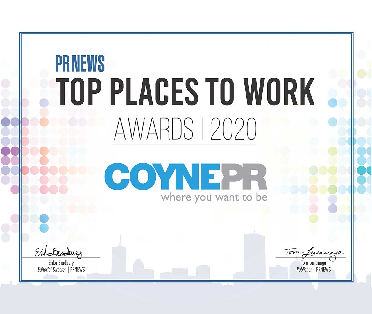 Coyne Public Relations Named One of PRNEWS' Top Places to Work in PR